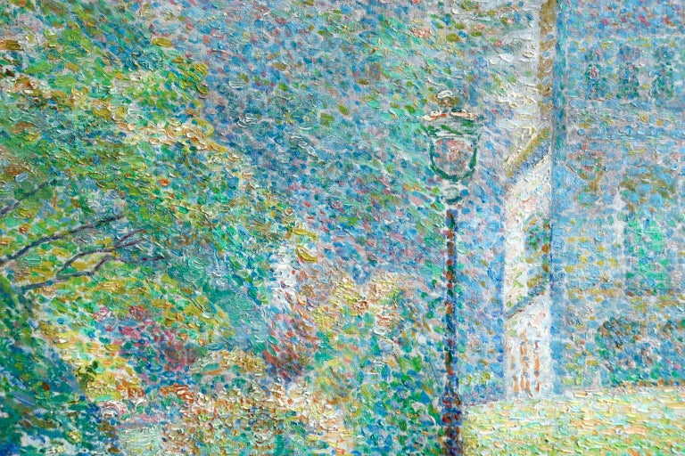 Le Parc Montsouris - Au Matin - Pointillist Oil, Figures in Landscape - L Vallee For Sale 5