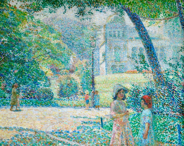 Ludovic Vallée Figurative Painting - Le Parc Montsouris - Au Matin - Pointillist Oil, Figures in Landscape - L Vallee