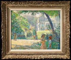 Le Parc Montsouris - Au Matin - Pointillist Oil, Figures in Landscape - L Vallee