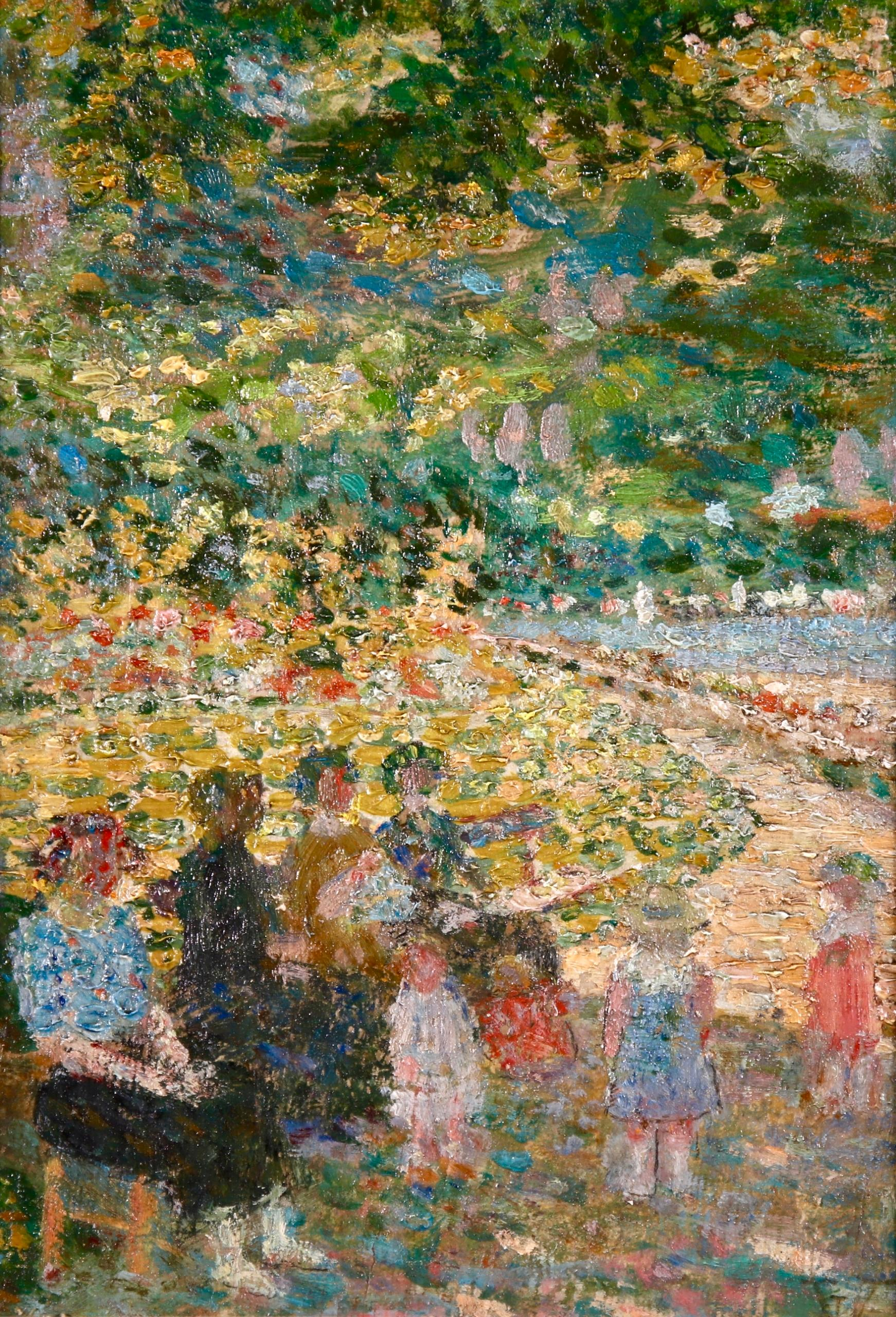Mothers & Children - Impressionist Oil, Figures in Landscape by Ludovic Vallee