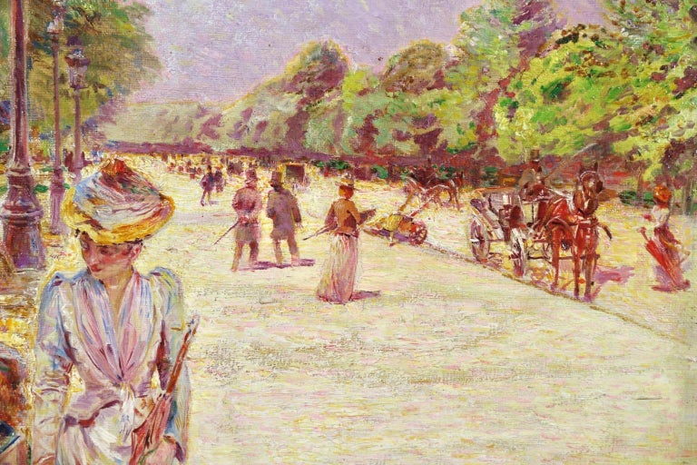 Tuileries Garden - Impressionist Oil, Figures in Landscape by Ludovic Vallee For Sale 5