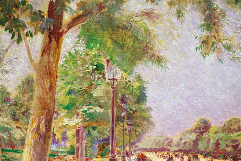 Tuileries Garden - Impressionist Oil, Figures in Landscape by Ludovic Vallee For Sale 6