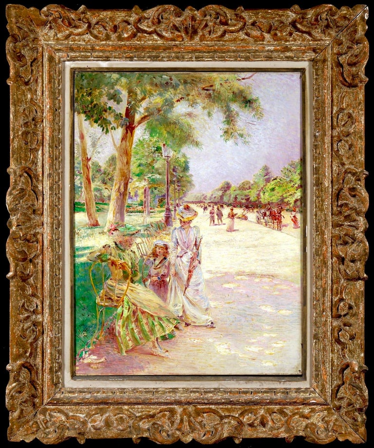 Tuileries Garden - Impressionist Oil, Figures in Landscape by Ludovic Vallee - Painting by Ludovic Vallée