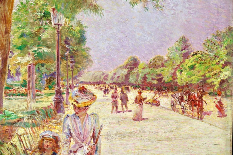 Tuileries Garden - Impressionist Oil, Figures in Landscape by Ludovic Vallee - Pointillist Painting by Ludovic Vallée