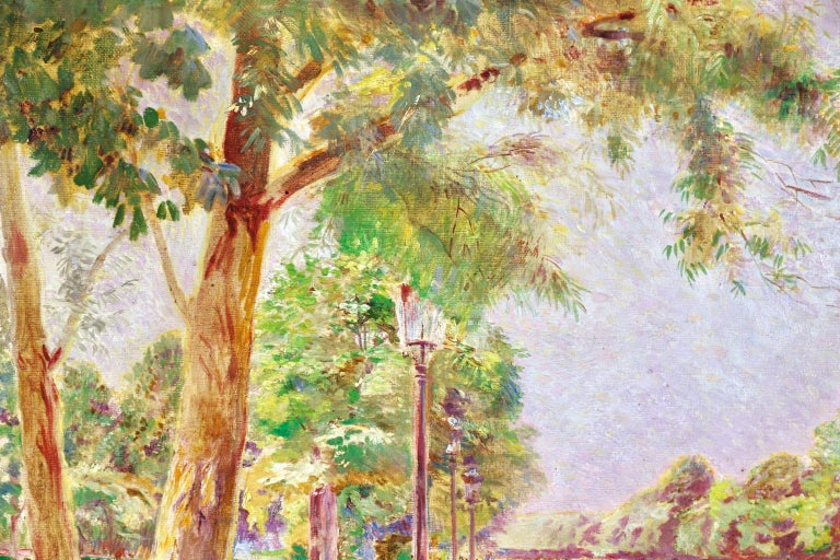 Tuileries Garden - Impressionist Oil, Figures in Landscape by Ludovic Vallee - Beige Figurative Painting by Ludovic Vallée