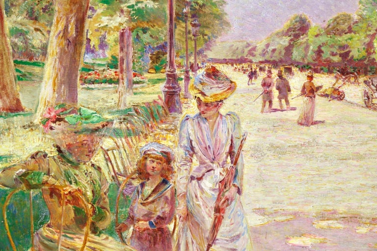 Tuileries Garden - Impressionist Oil, Figures in Landscape by Ludovic Vallee For Sale 1