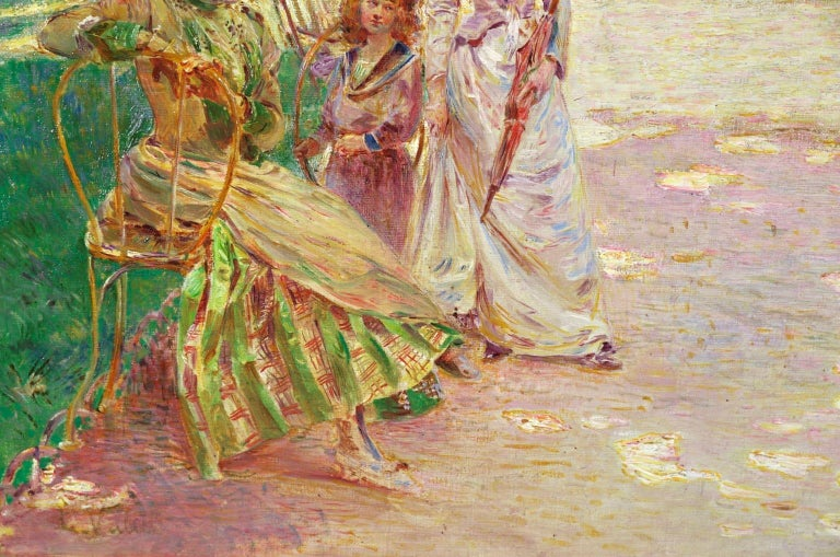 Tuileries Garden - Impressionist Oil, Figures in Landscape by Ludovic Vallee For Sale 3