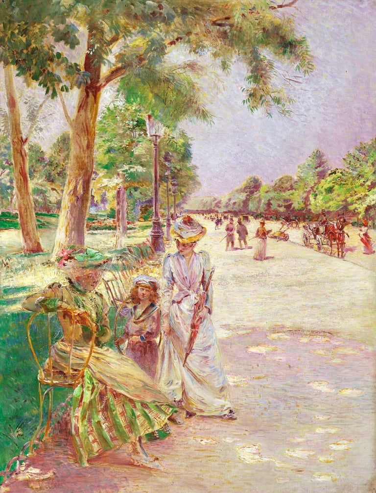 Ludovic Vallée Figurative Painting - Tuileries Garden - Impressionist Oil, Figures in Landscape by Ludovic Vallee