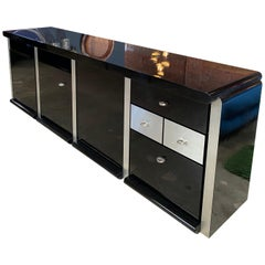 Ludovico Acerbis Midcentury 1970 Rosewood and Stainless Steel Sideboard