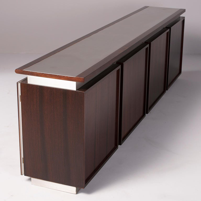 Ludovico Acerbis Midcentury Rosewood and Stainless Steel Sideboard For Sale 5