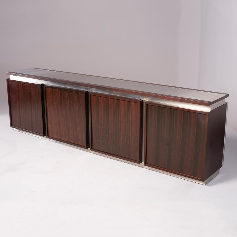 Ludovico Acerbis Midcentury Rosewood and Stainless Steel Sideboard For Sale 6