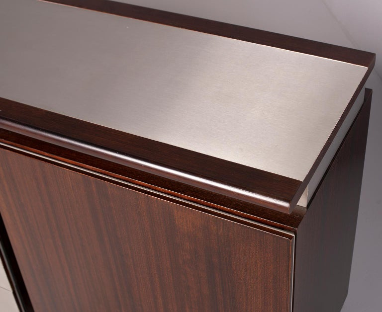 Ludovico Acerbis Midcentury Rosewood and Stainless Steel Sideboard For Sale 7