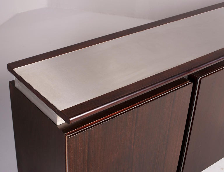 Ludovico Acerbis Midcentury Rosewood and Stainless Steel Sideboard For Sale 8