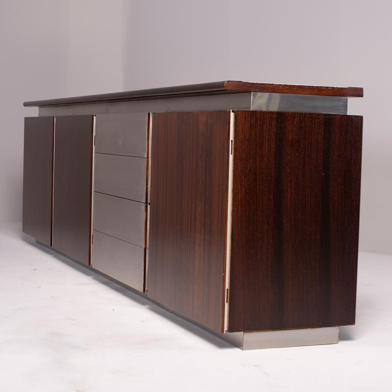 Ludovico Acerbis Midcentury Rosewood and Stainless Steel Sideboard For Sale 11