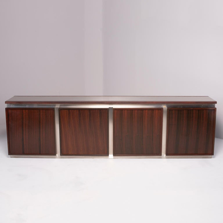 Mid-Century Modern Ludovico Acerbis Midcentury Rosewood and Stainless Steel Sideboard For Sale