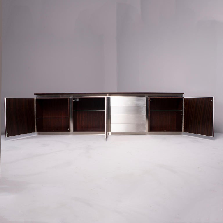 Italian Ludovico Acerbis Midcentury Rosewood and Stainless Steel Sideboard For Sale