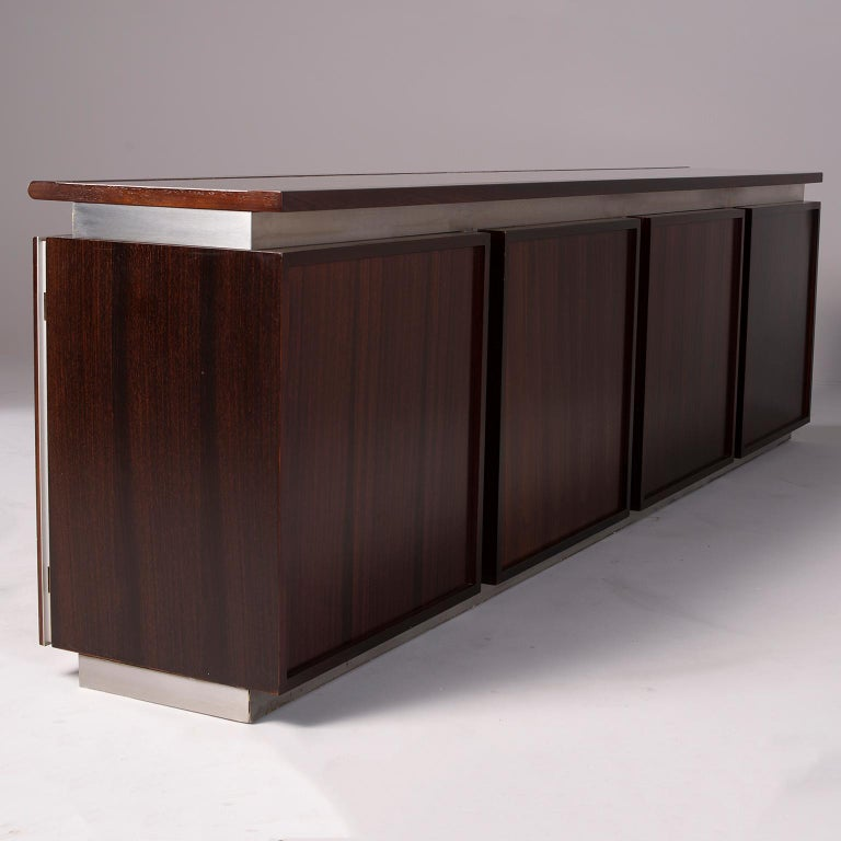 Ludovico Acerbis Midcentury Rosewood and Stainless Steel Sideboard In Good Condition For Sale In Troy, MI