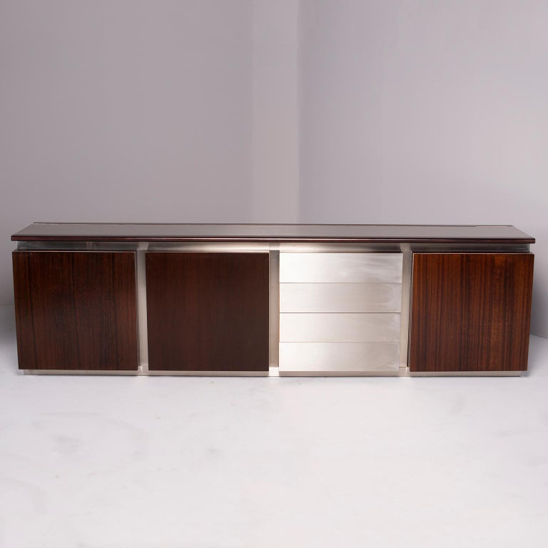 Ludovico Acerbis Midcentury Rosewood and Stainless Steel Sideboard For Sale 1