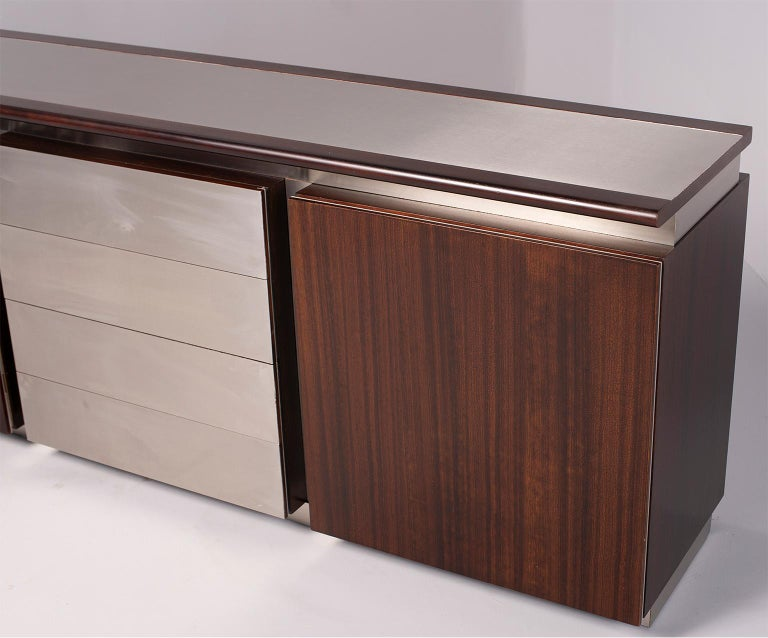 Ludovico Acerbis Midcentury Rosewood and Stainless Steel Sideboard For Sale 2