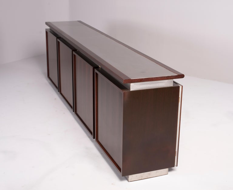 Ludovico Acerbis Midcentury Rosewood and Stainless Steel Sideboard For Sale 3