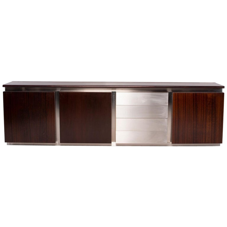 Ludovico Acerbis Midcentury Rosewood and Stainless Steel Sideboard For Sale