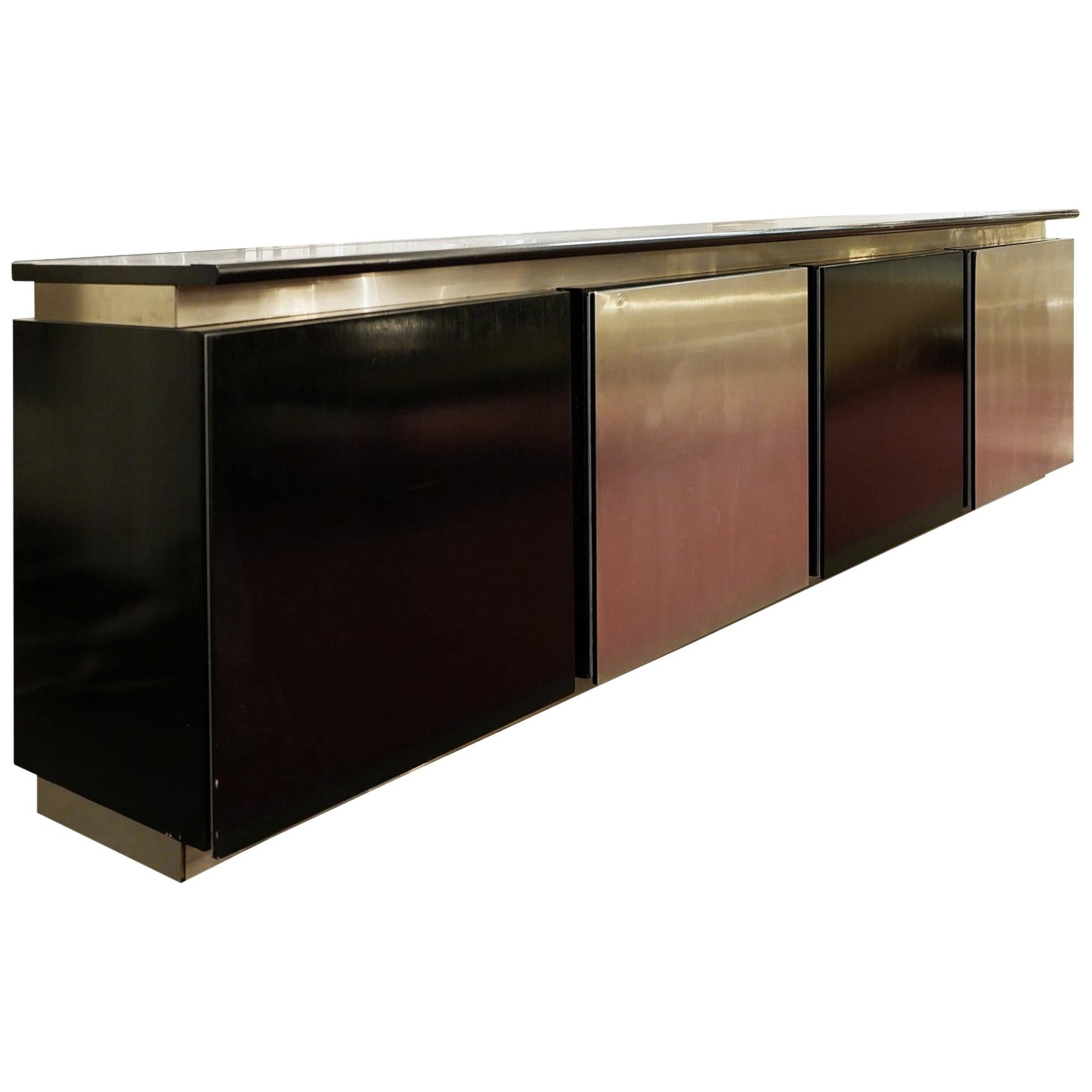 Ludovico Acerbis Sideboard in Stained Oak and Aluminum, 1960s