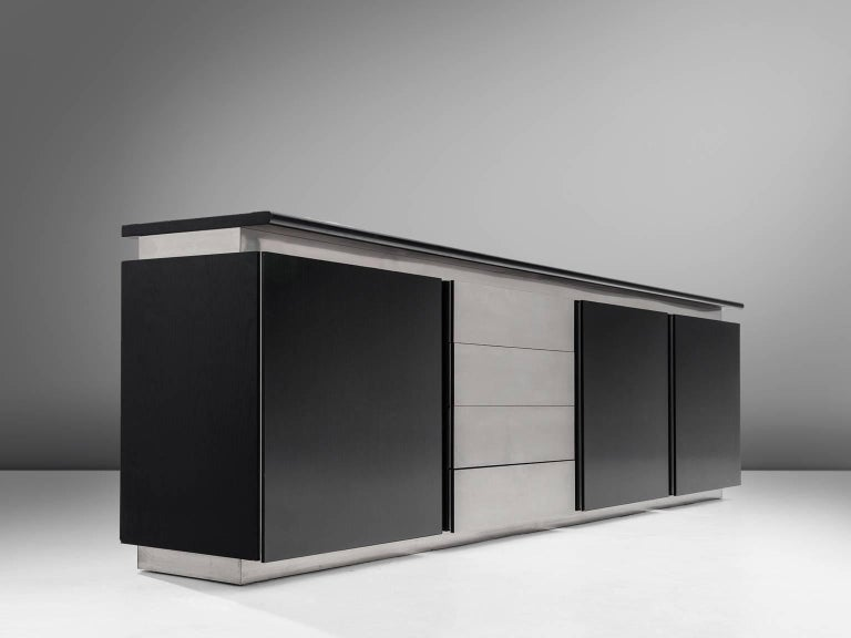 Ludovico Acerbis for Acerbis, sideboard, black lacquered wood and steel, 1970s, Italy.