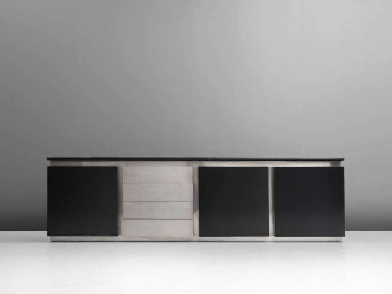 Mid-Century Modern Ludovico Acerbis Sideboard in Stained Oak and Aluminium For Sale