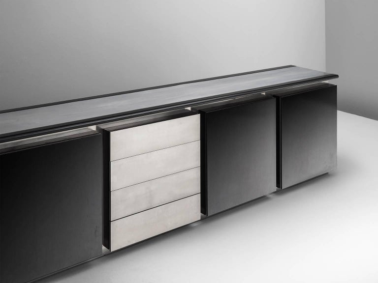 Italian Ludovico Acerbis Sideboard in Stained Oak and Aluminium For Sale