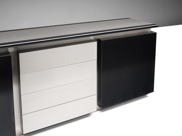 Ludovico Acerbis Sideboard in Stained Oak and Aluminium In Good Condition For Sale In Waalwijk, NL