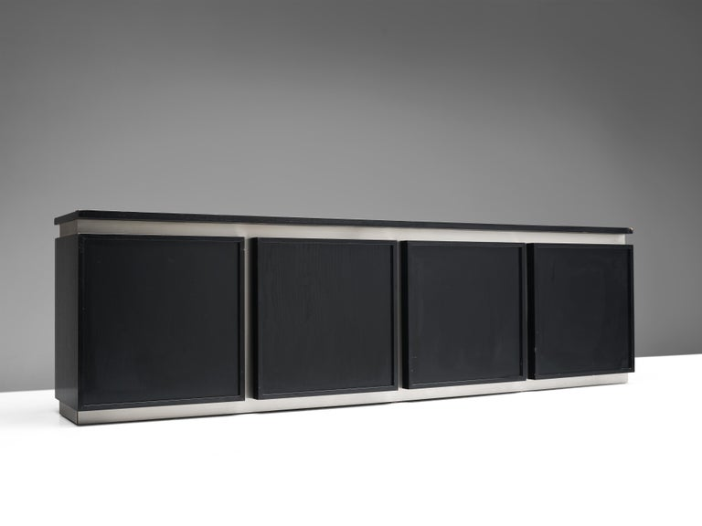 Mid-20th Century Ludovico Acerbis Sideboard in Stained Oak and Aluminium For Sale