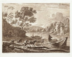 Landscape from Liber Veritatis - B/W Etching after Claude Lorrain - 1815