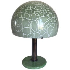 Ludovico Diaz de Santillana Green Murano Glass Italian Table Lamp, Venini 1960