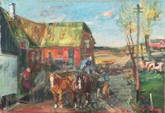 'Rural Farm Scene', Post-Impressionist, Paris Salon, Royal Academy, Benezit