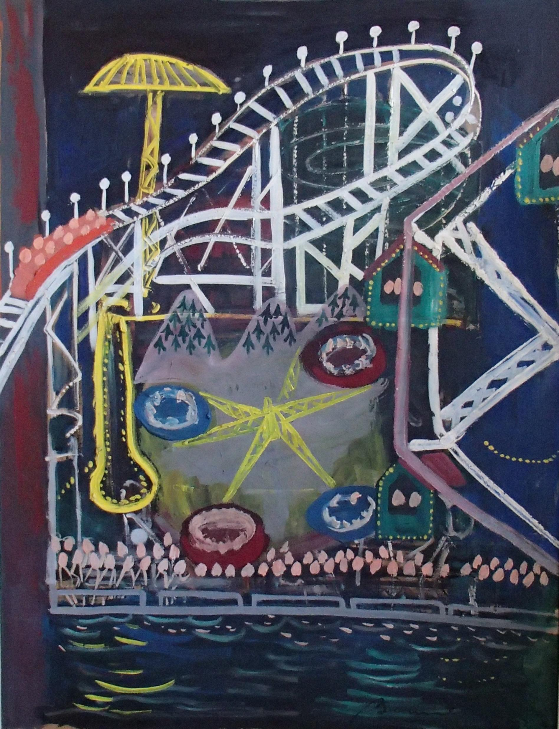 "Bemelmans ""Coney Island"" Brooklyn NYC Amusement Park Mid-century American Scene"