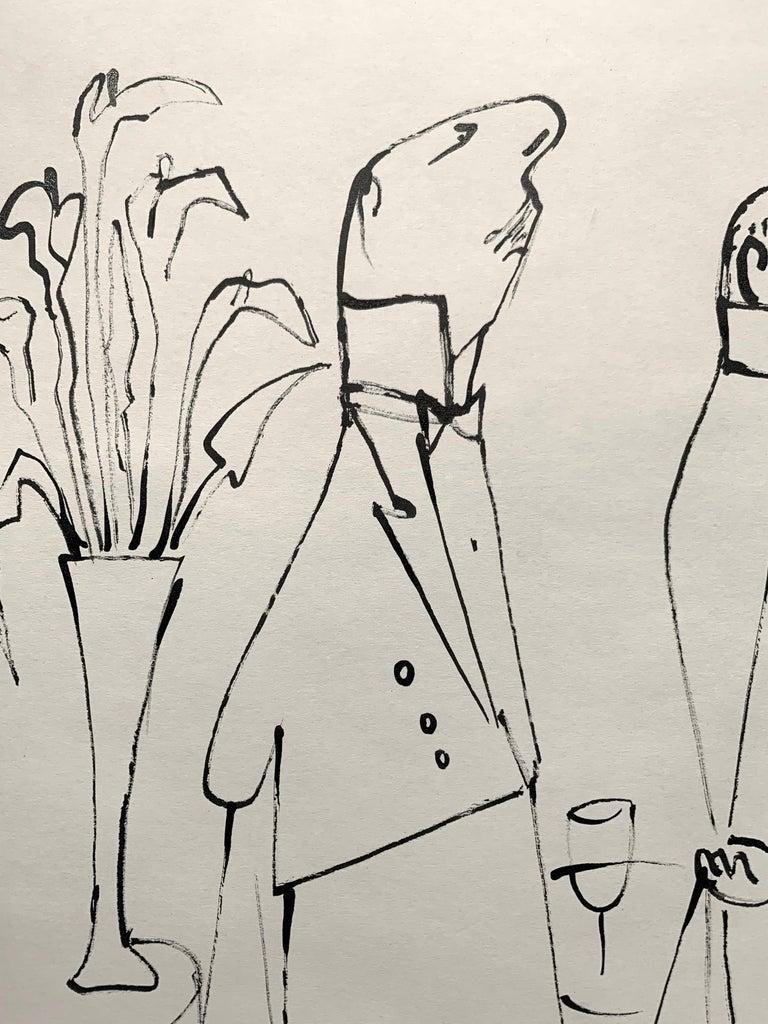 Perfect Service (La Bonne Table illustration) - Beige Figurative Painting by Ludwig Bemelmans
