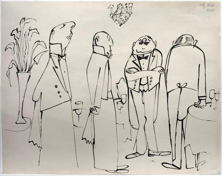 Ludwig Bemelmans Figurative Painting - Perfect Service (La Bonne Table illustration)