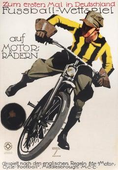 """""""Fussball-Wettspiel auf Motorradern"""" Original Vintage Biking Poster"""