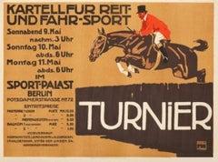 """Turnier"" Original Vintage German Equestrian Poster 1910s"