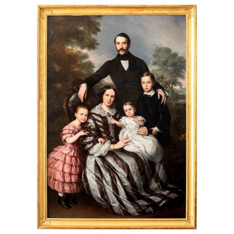 "Ludwig Krevel Family Portrait ""Emil Albano Korte and his Family"", 19th Century For Sale"