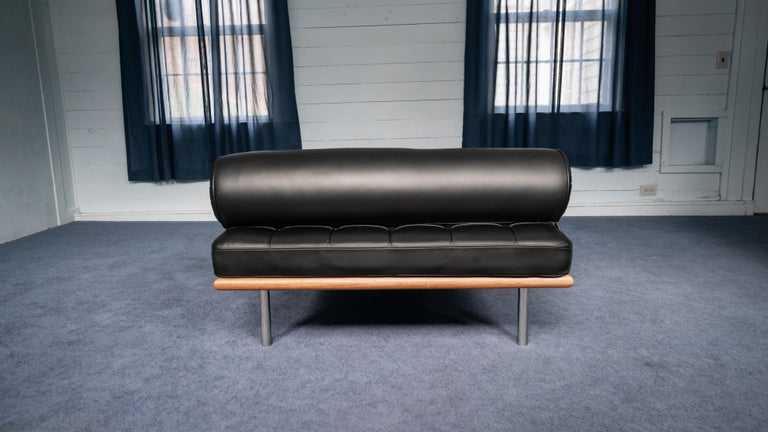 American Ludwig Mies van der Rohe Barcelona Daybed in Black Leather For Sale