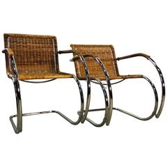 Ludwig Mies Van Der Rohe Chrome and Wicker His & Her Chairs