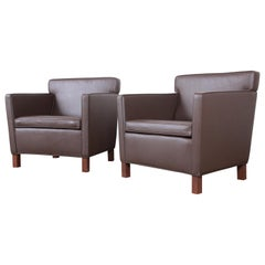 Ludwig Mies Van Der Rohe for Knoll Studio Krefeld Leather Club Chairs, Pair