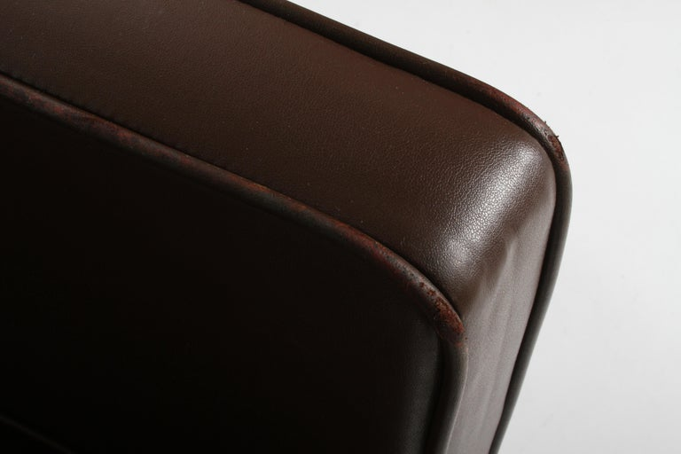 Ludwig Mies van der Rohe Krefeld Brown Leather Lounge Chair for Knoll For Sale 5