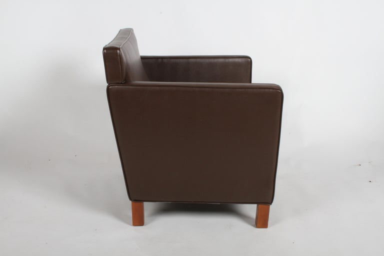 Ludwig Mies van der Rohe Krefeld Brown Leather Lounge Chair for Knoll For Sale 7