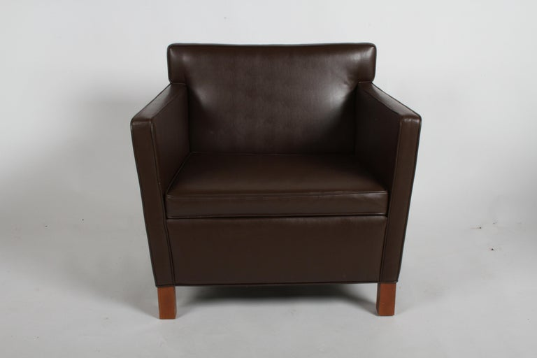 Mies van der Rohe Krefeld lounge or club chair for Knoll with dark brown Spineybeck leather. Recent production of 2009, based on his 1930s designs for the Esters and Lange residences in Krefeld, Germany. Leather shows wear to arms, especially to the