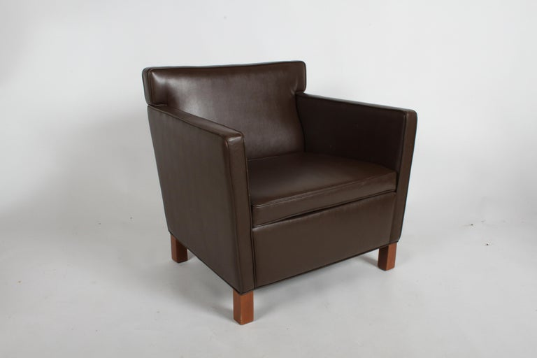 Mid-Century Modern Ludwig Mies van der Rohe Krefeld Brown Leather Lounge Chair for Knoll For Sale
