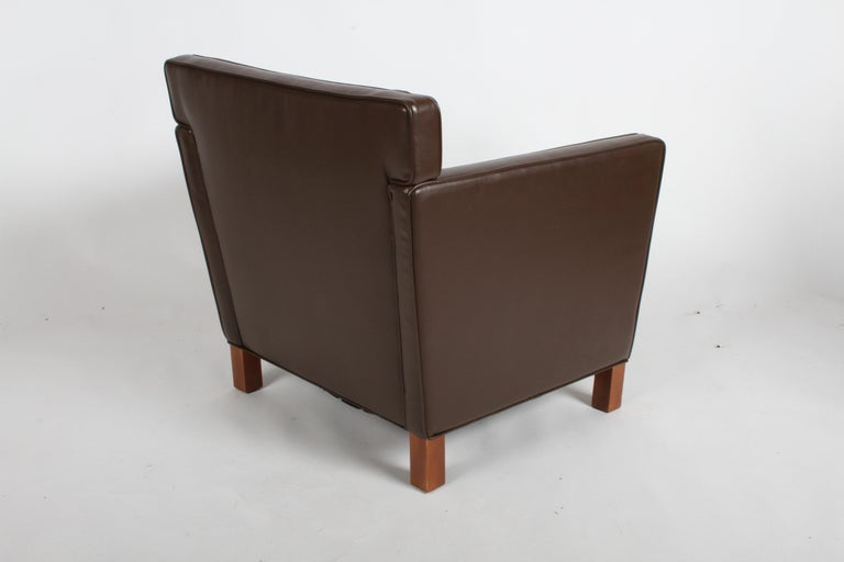 North American Ludwig Mies van der Rohe Krefeld Brown Leather Lounge Chair for Knoll For Sale