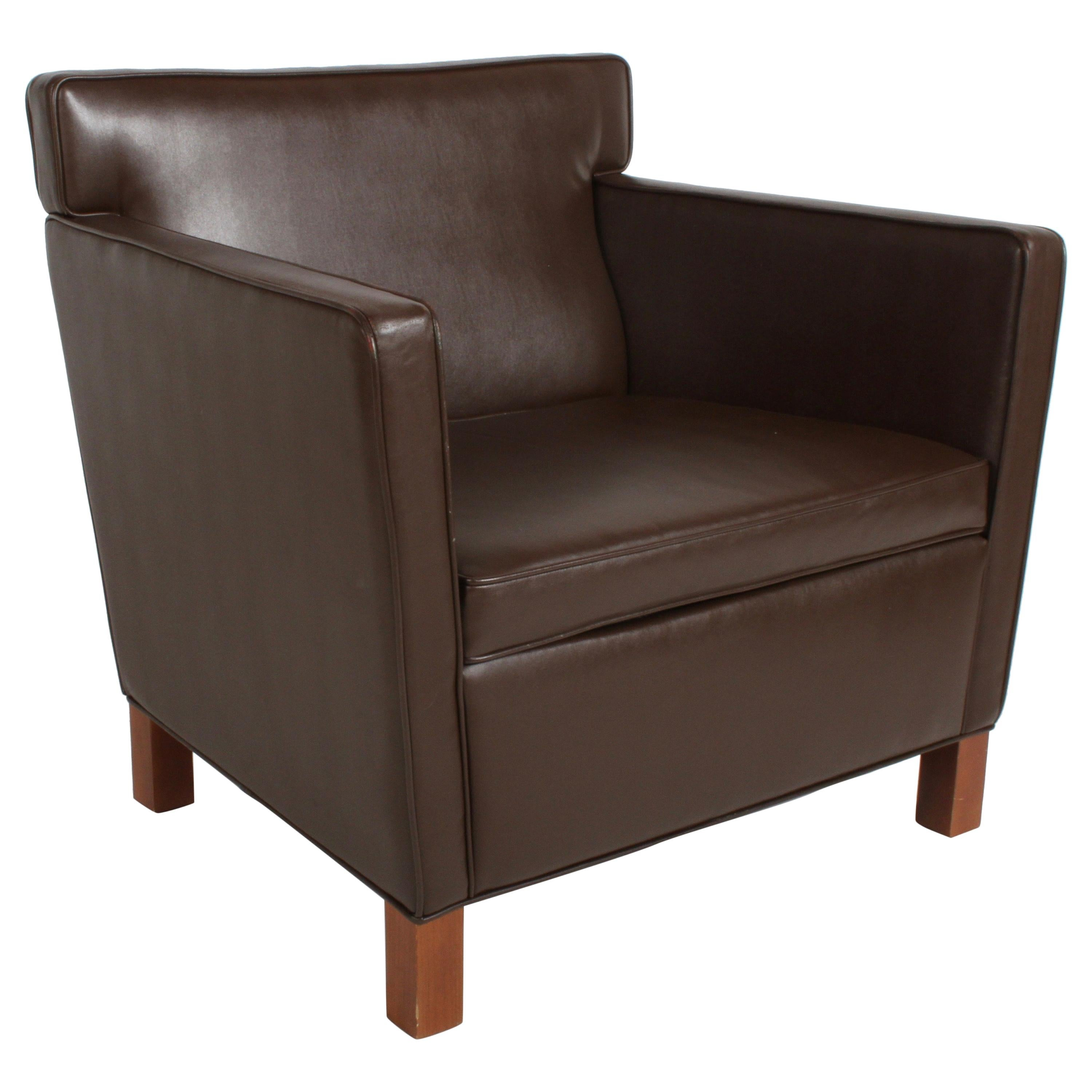 Ludwig Mies van der Rohe Krefeld Brown Leather Lounge Chair for Knoll