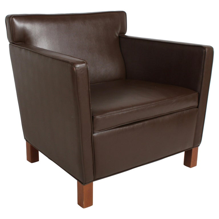 Ludwig Mies van der Rohe Krefeld Brown Leather Lounge Chair for Knoll For Sale